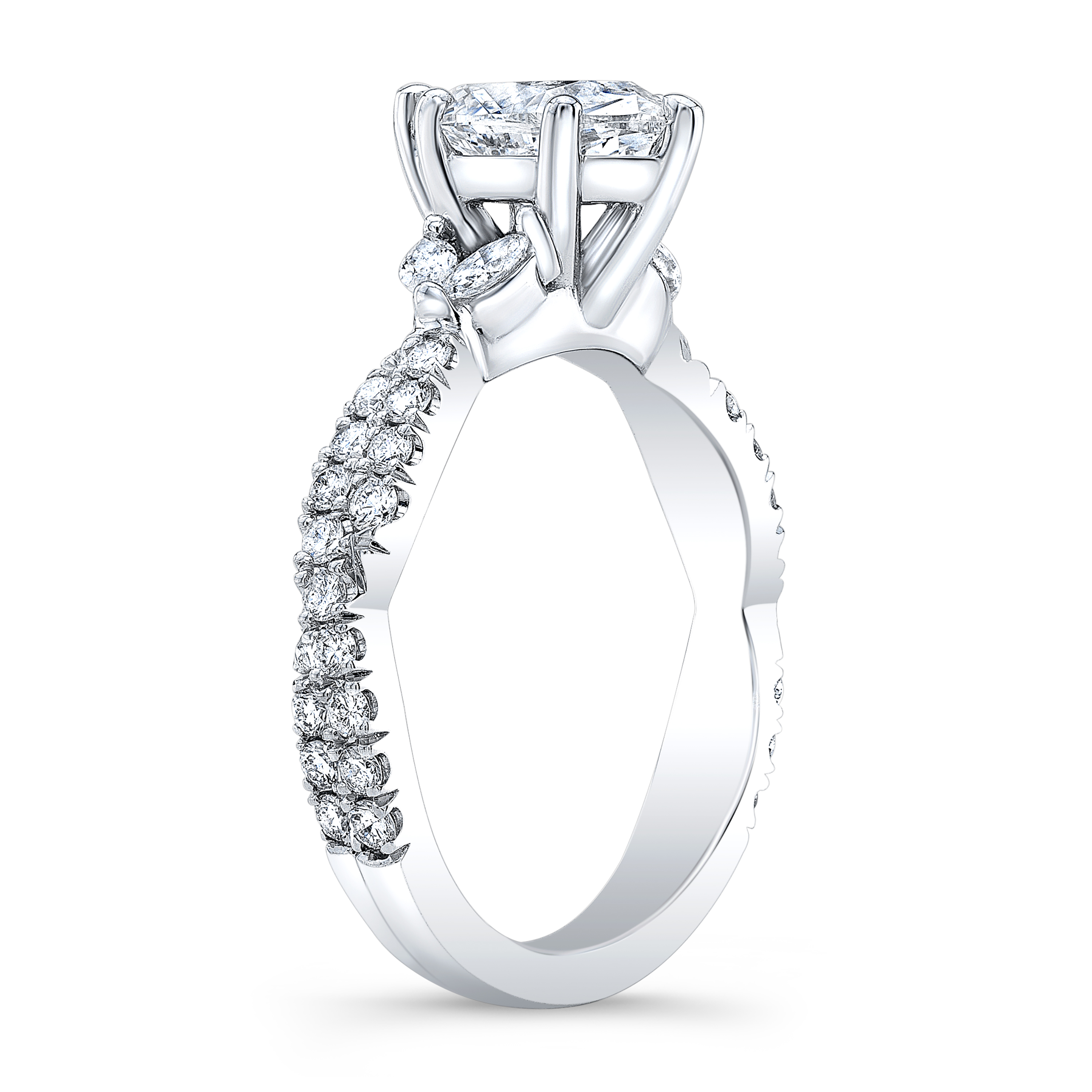 Marquise Side Stones Twisted Shank Diamond Engagement Ring