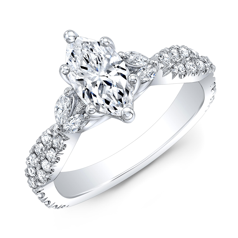 Marquise Diamond Ring In Platinum (Unique & Rustic)