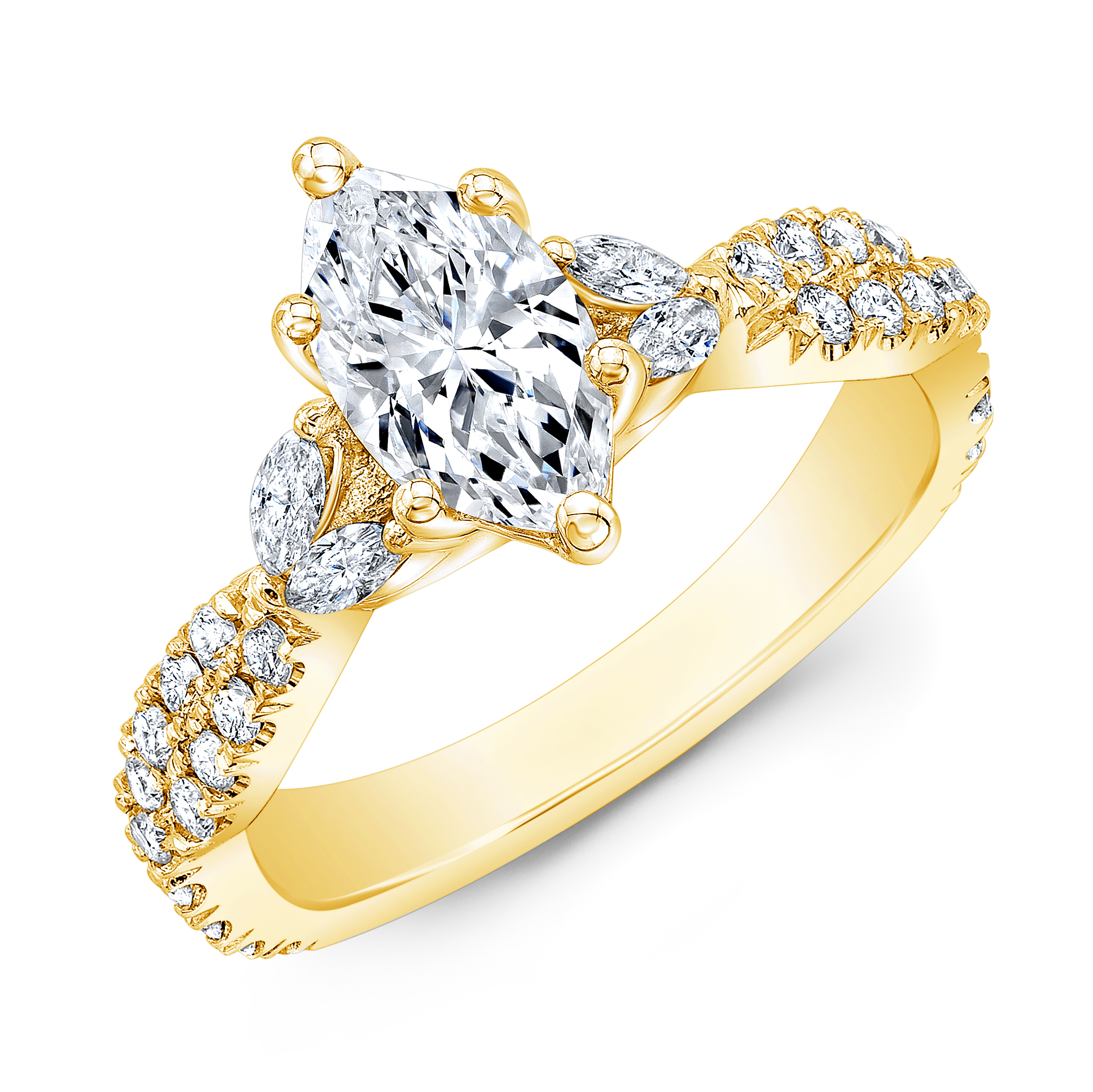 Marquise Cut Engagement Ring In Yellow Gold