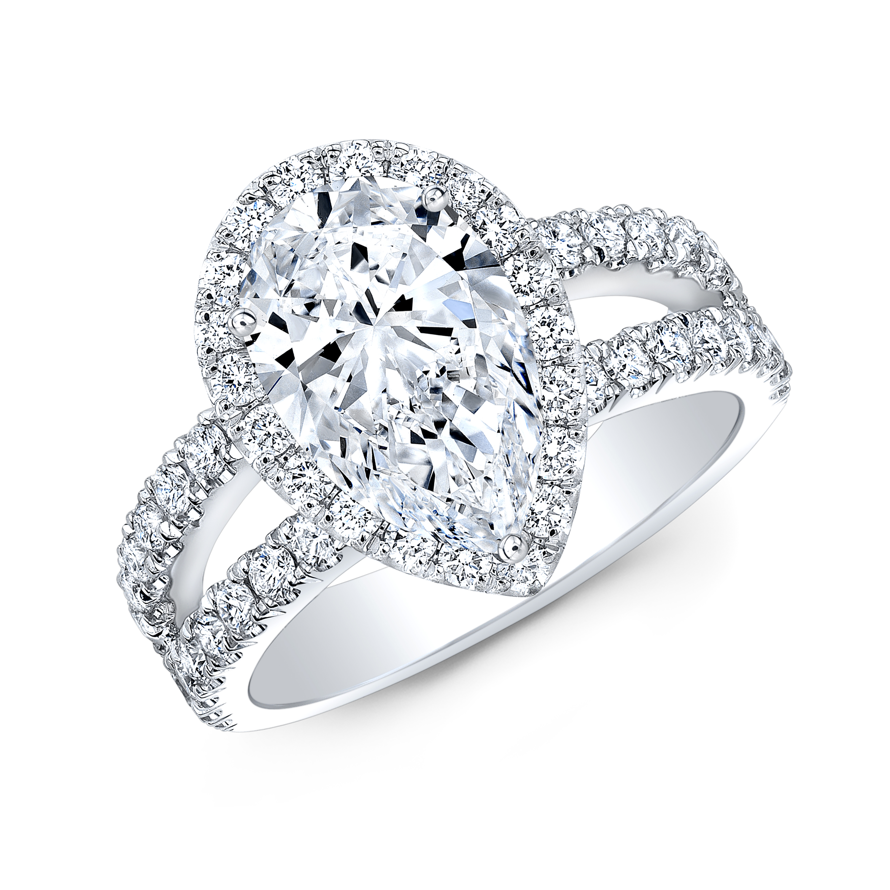 Pear Halo Split Shank Pave Diamond Engagement Ring