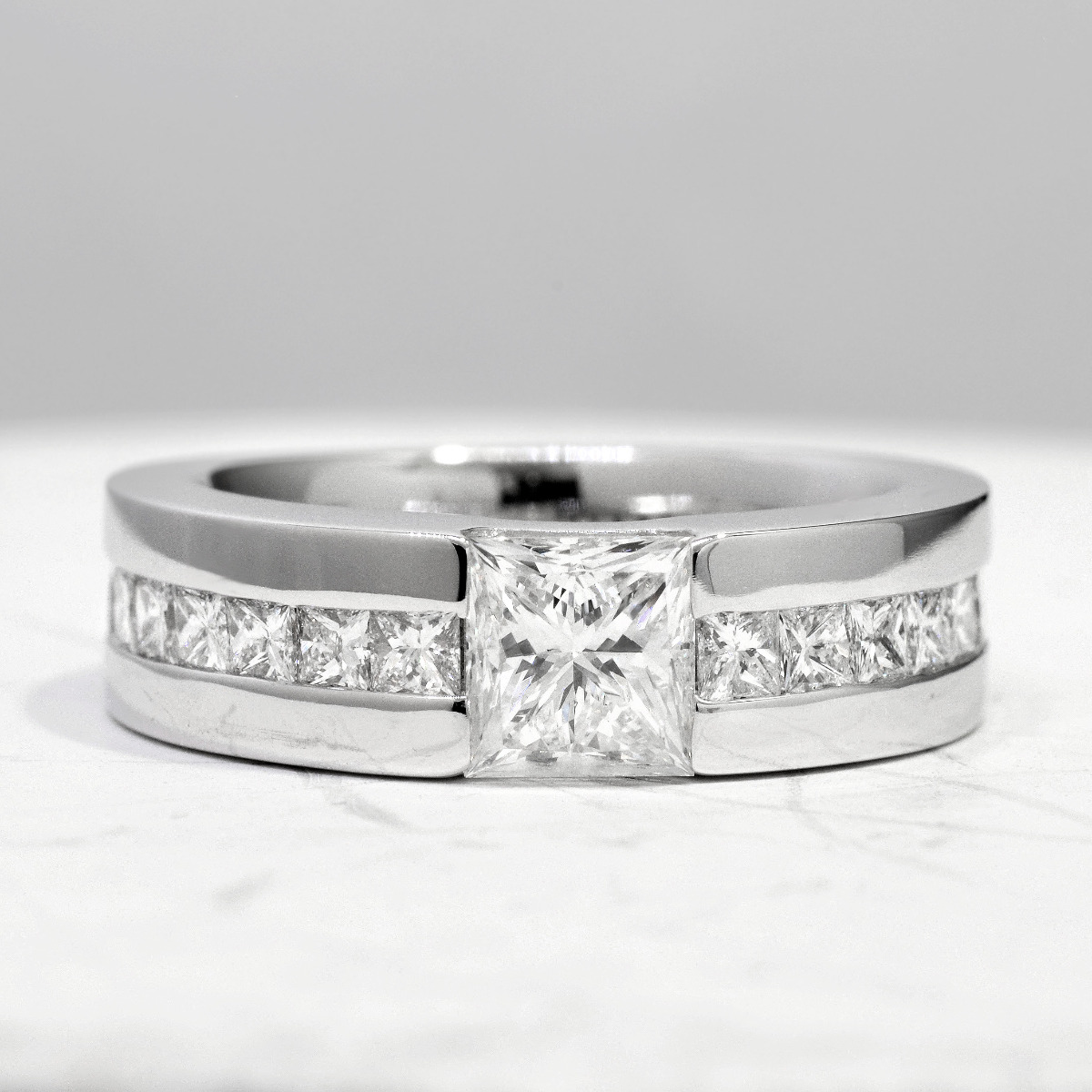 Wide Shank Channel Diamond Engagement Ring