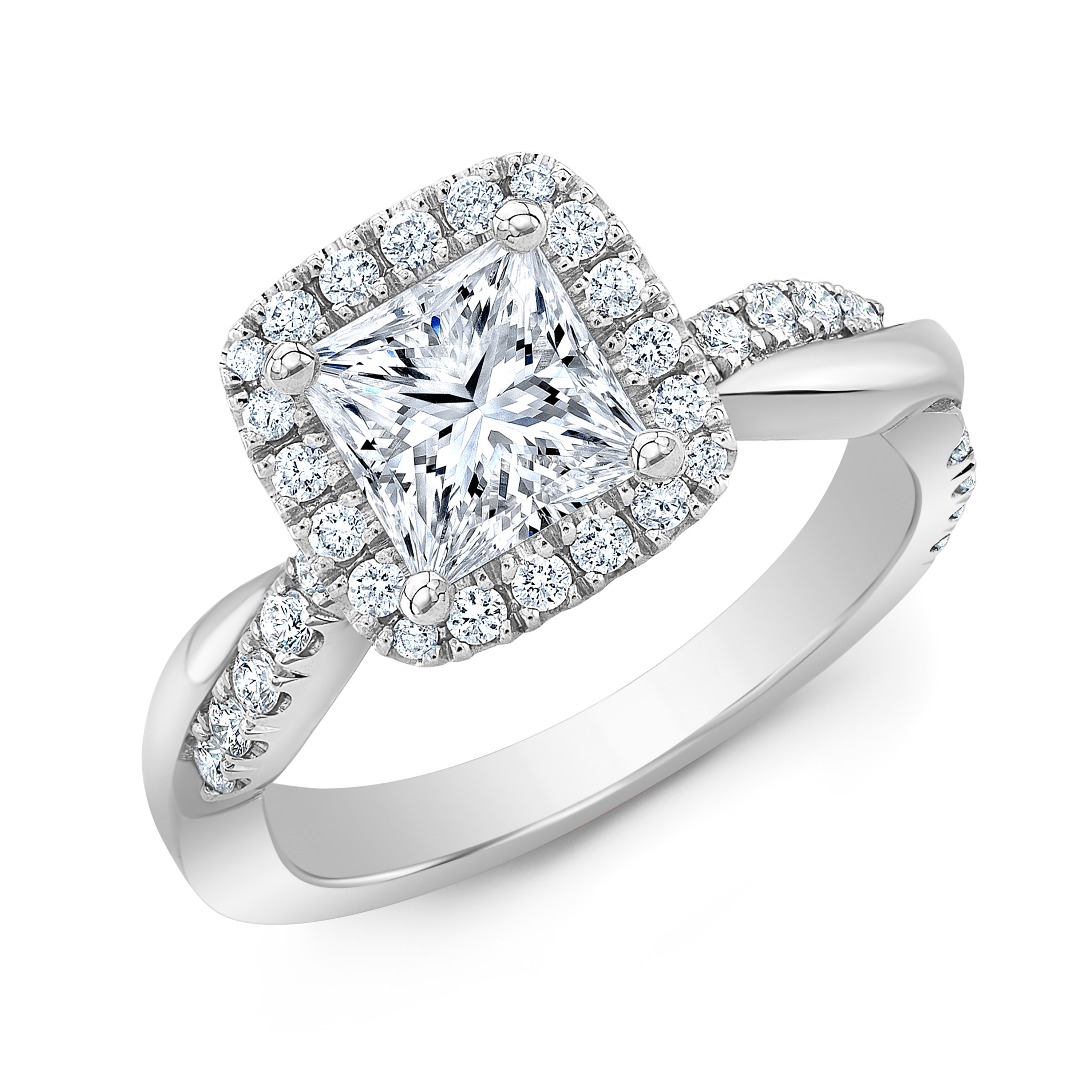 Natural Halo Twisted Pave Diamond Engagement Ring