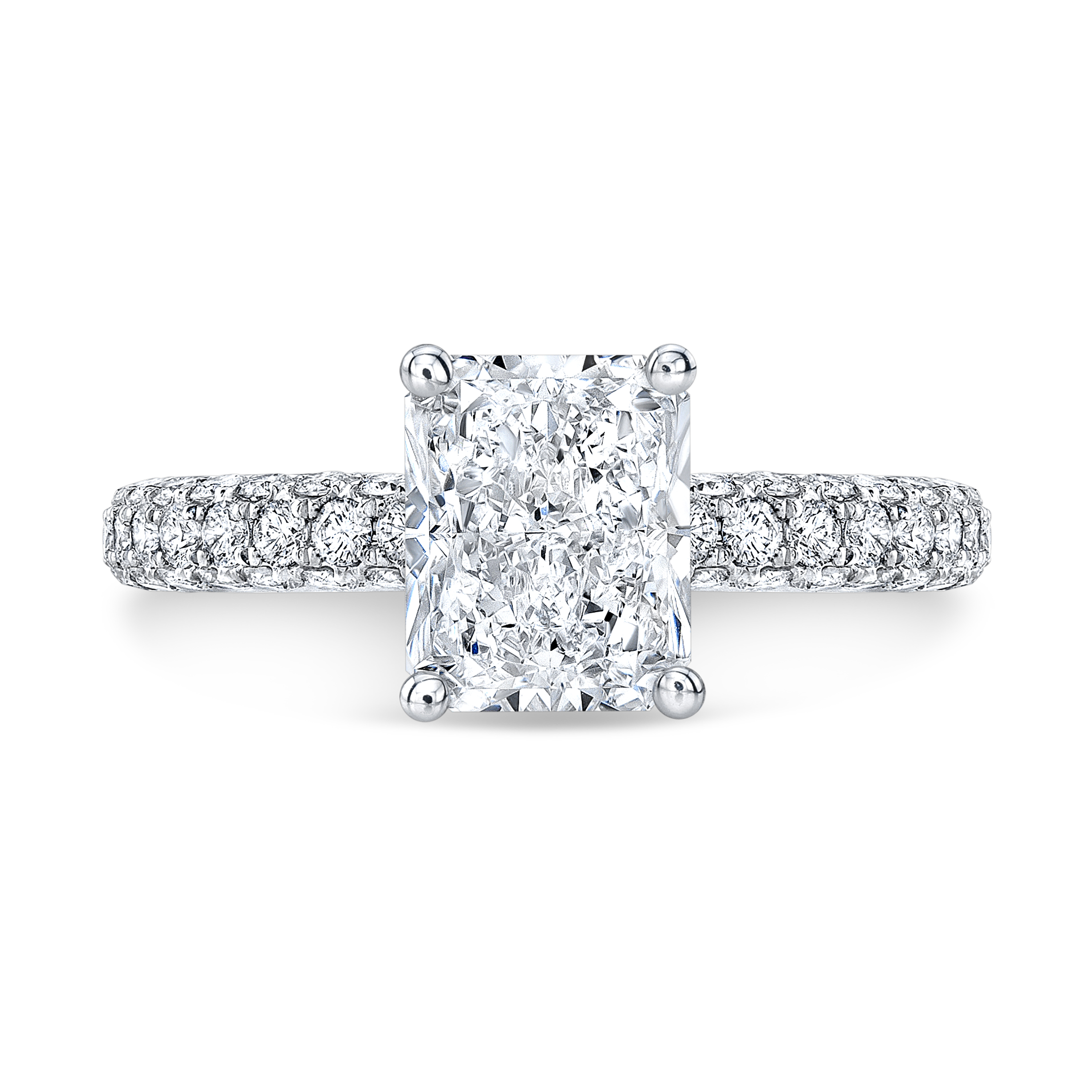Classic 3 Row Micro Pave Diamond Engagement Ring
