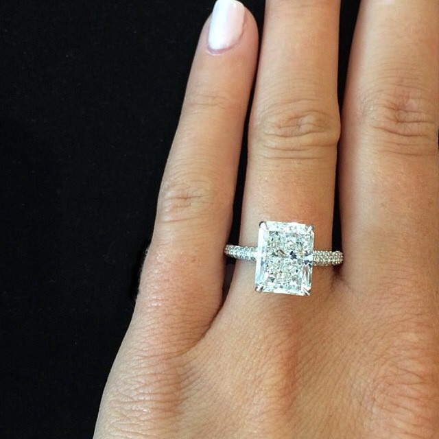 1 6 Ct Radiant Cut Natural Diamond Micro Pave Natural Diamond Engagement Ring Gia Certified