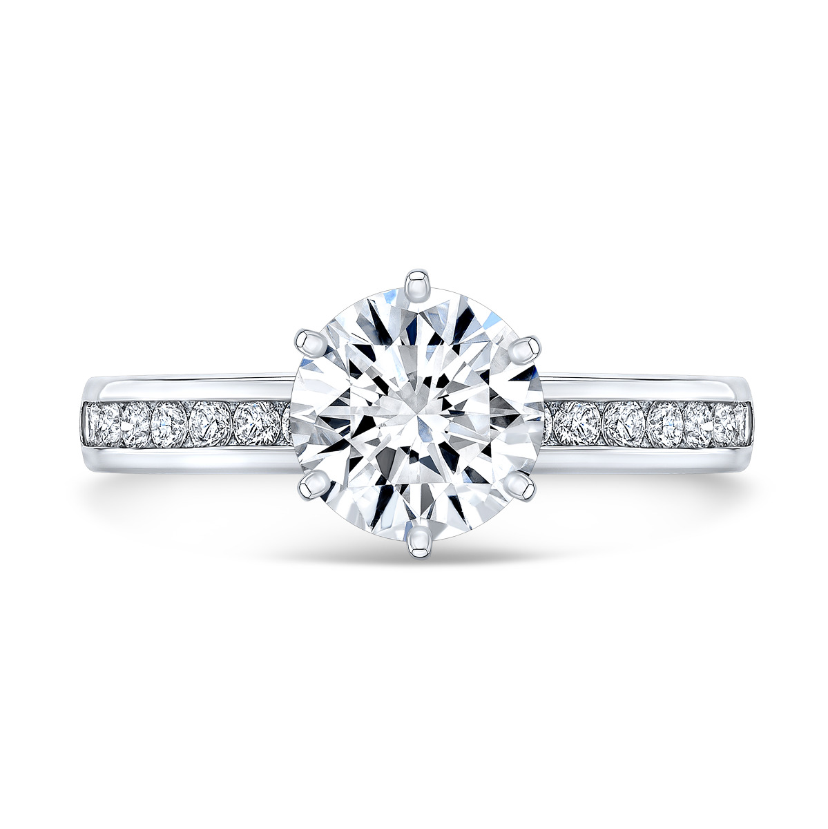 6 Prong Channel Set Diamond Engagement Ring
