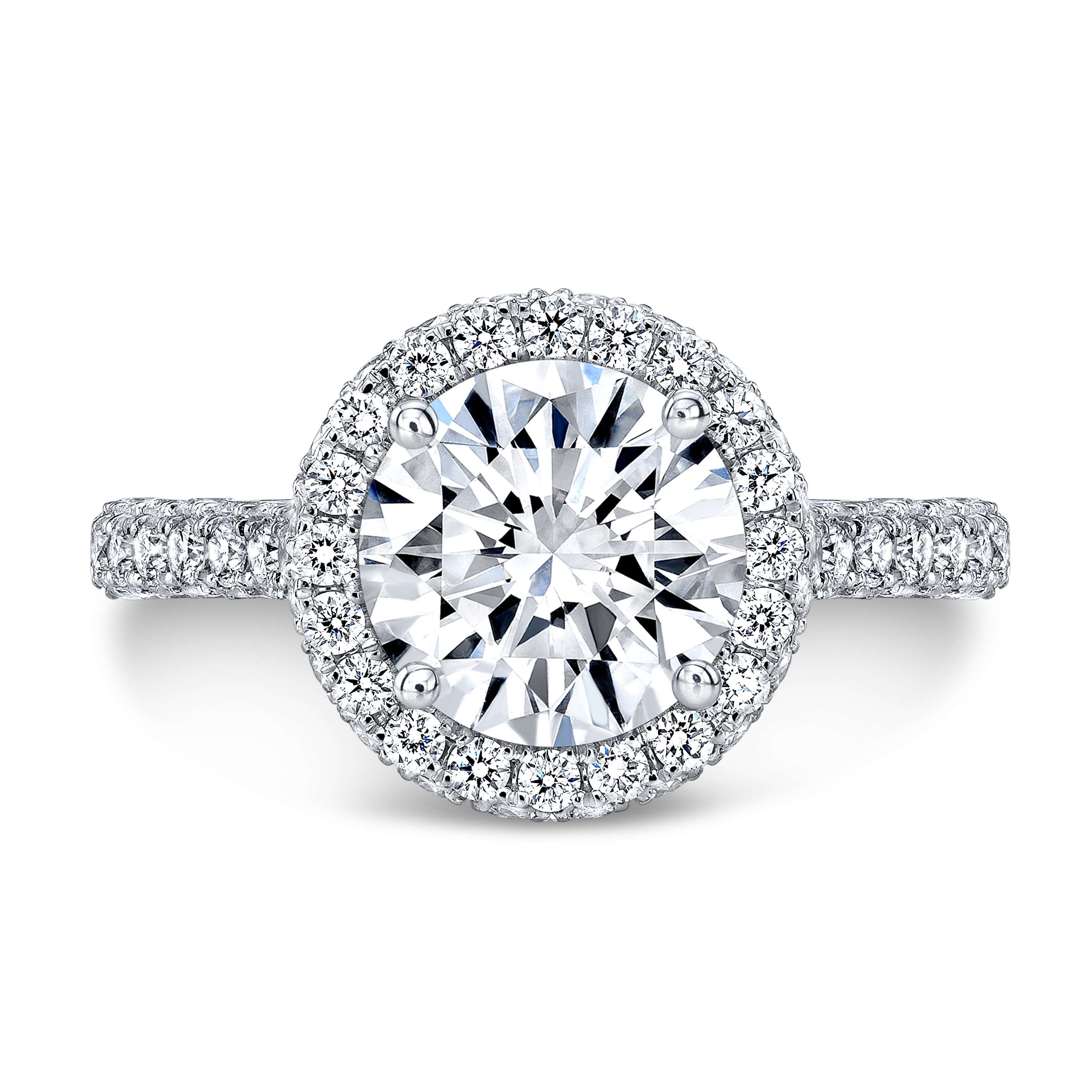 Halo 3 Sided Pave Pink Diamonds Engagement Ring