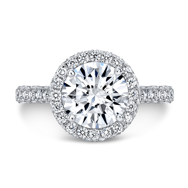 Unique Round Cut Halo Engagement Ring