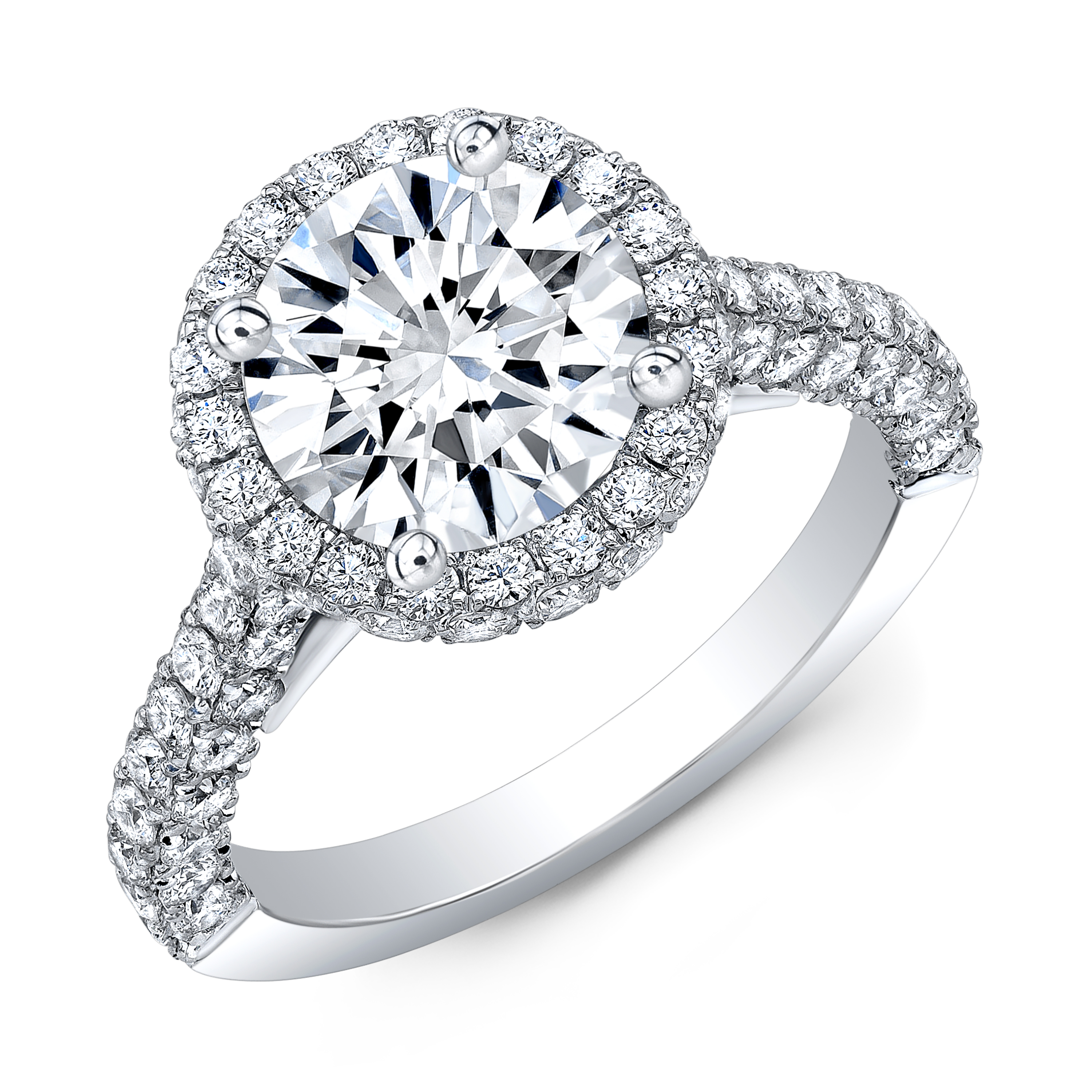 Micro Pave Round Cut Diamond Engagement Ring