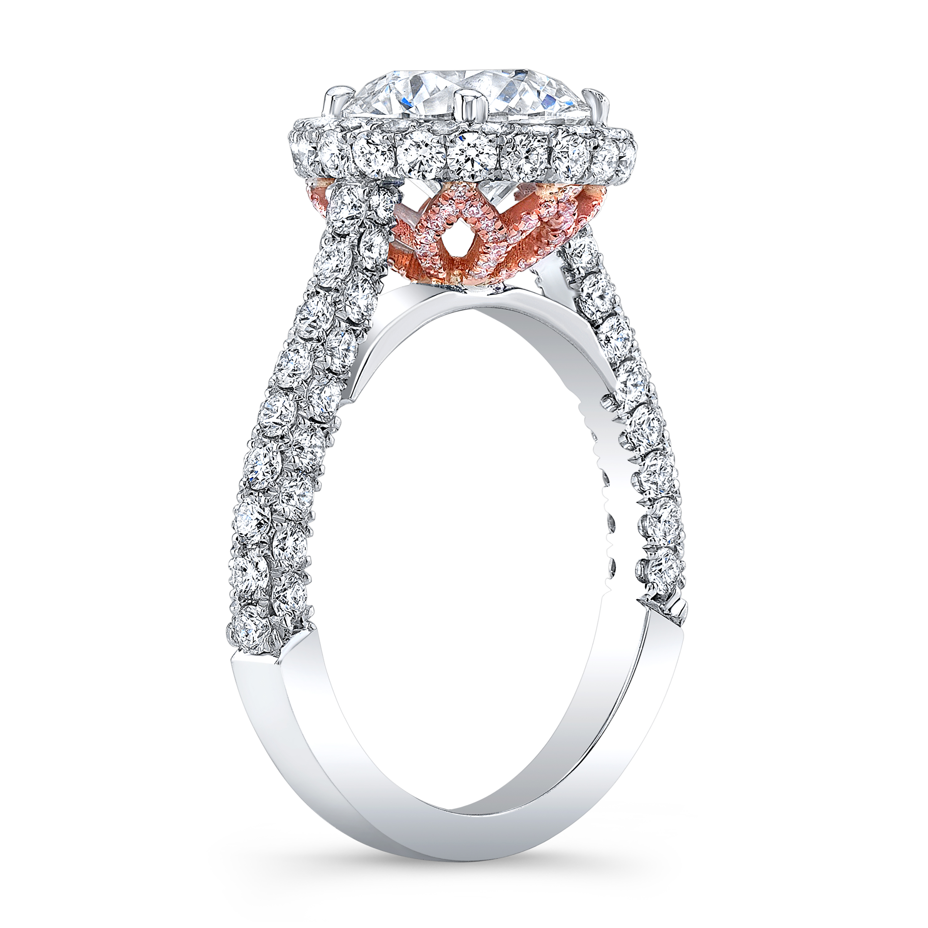 2 8 Ct Round Cut Natural Diamond Halo 3 Sided Pave Engagement Ring With Pink Diamonds Gia Certified