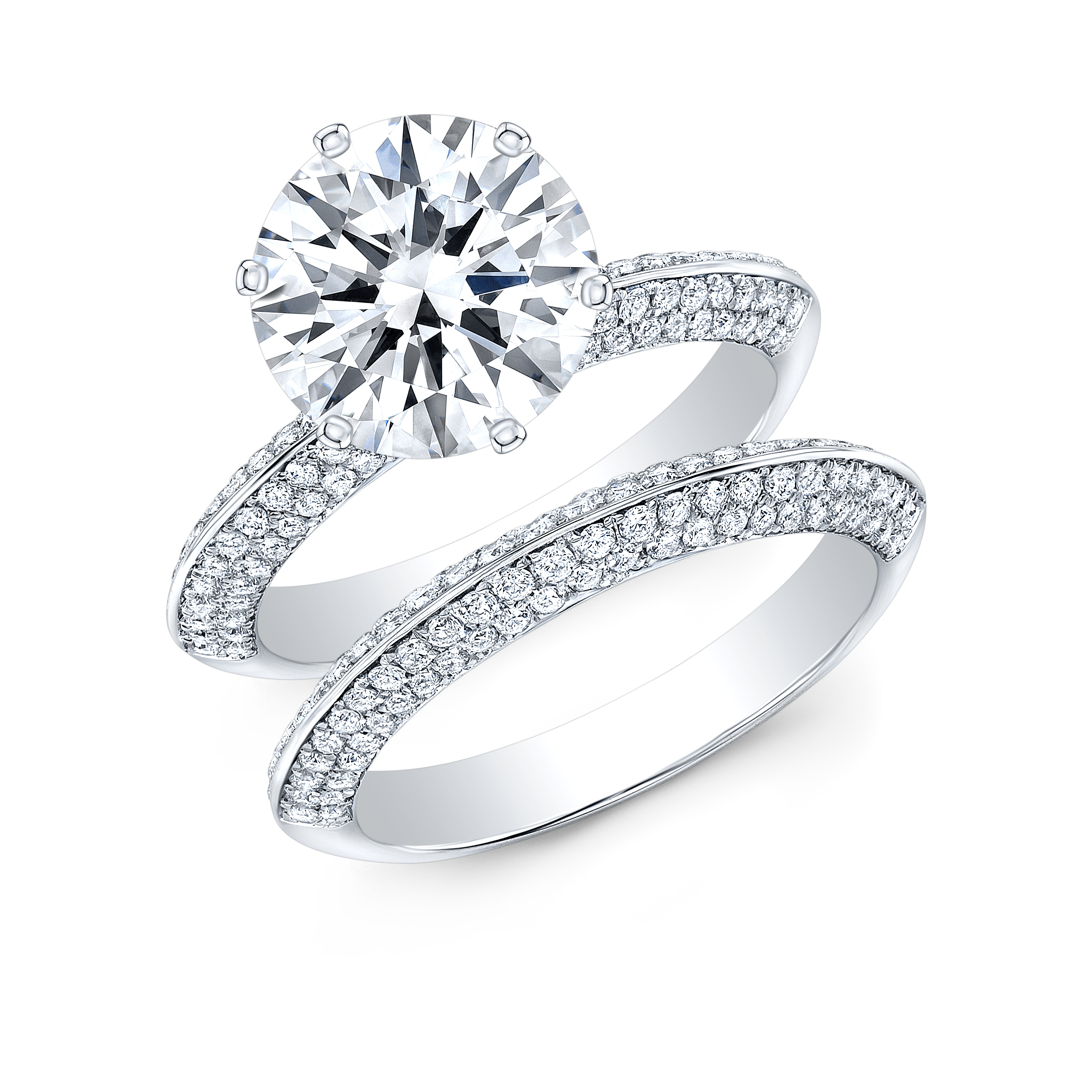 Knife Edge Micro Pave 6 Prong Engagement Ring