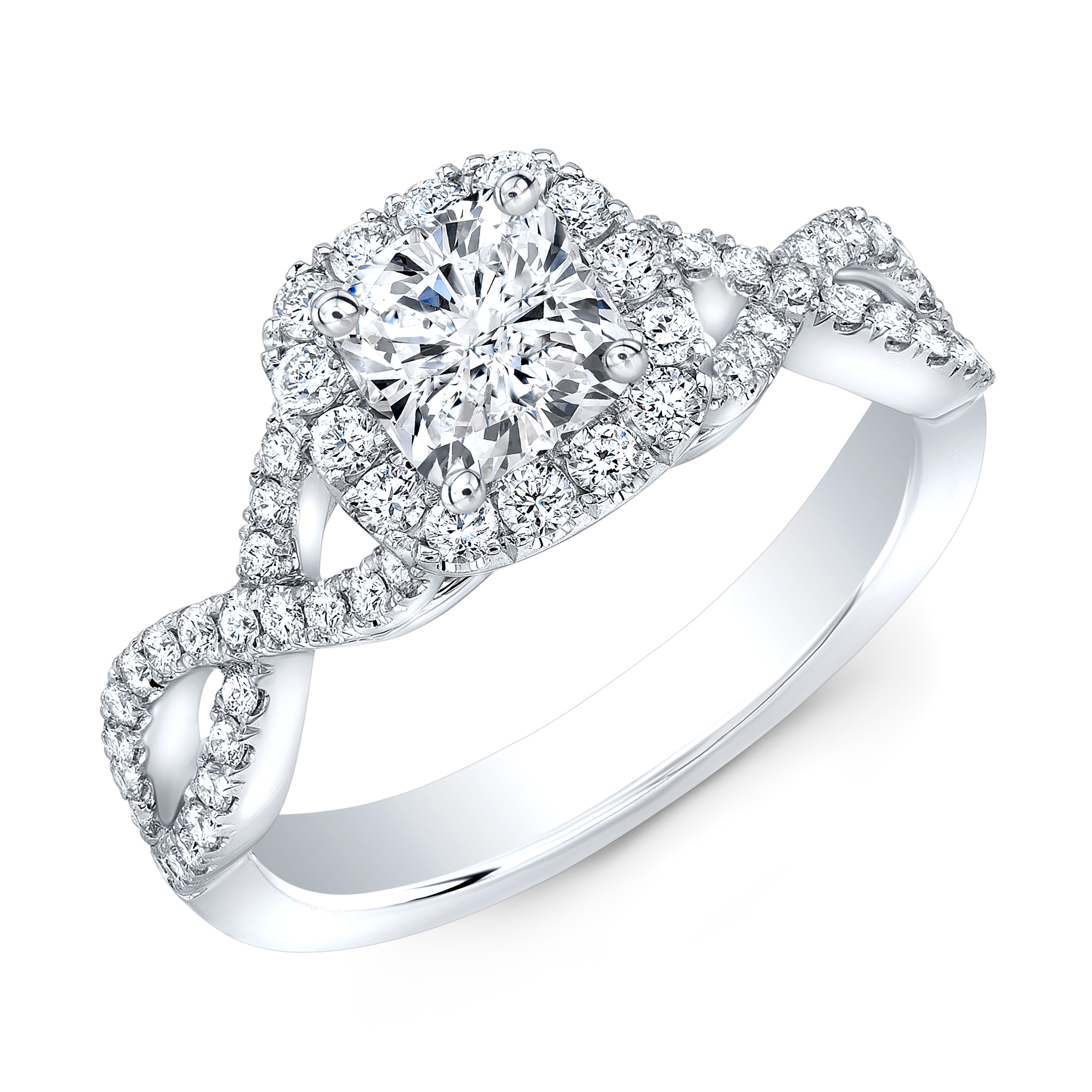 Natural Halo Infinity Pave Diamond Engagement Ring
