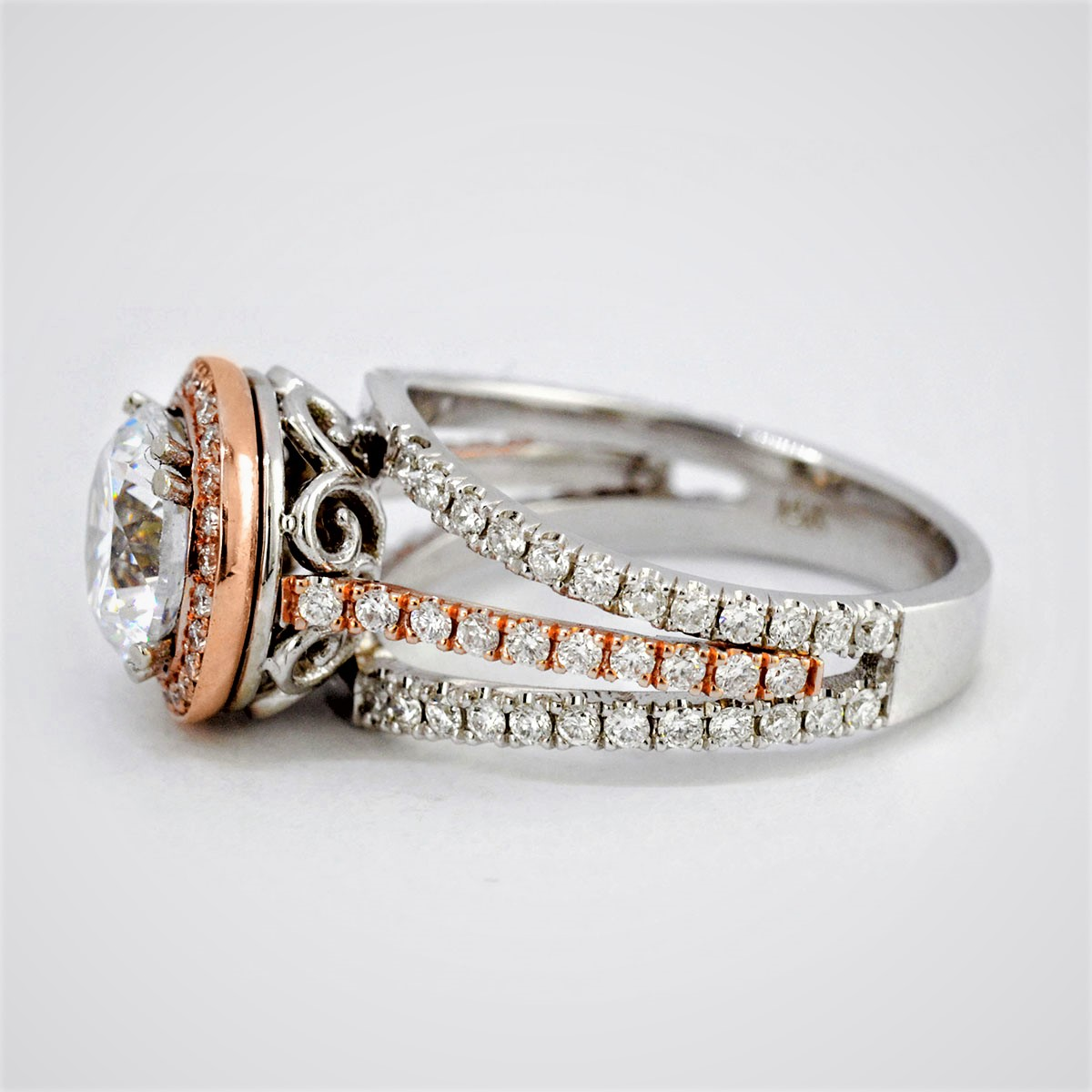 Natural Round Halo Two Toned with Natural Pink Diamonds Engagement Ring