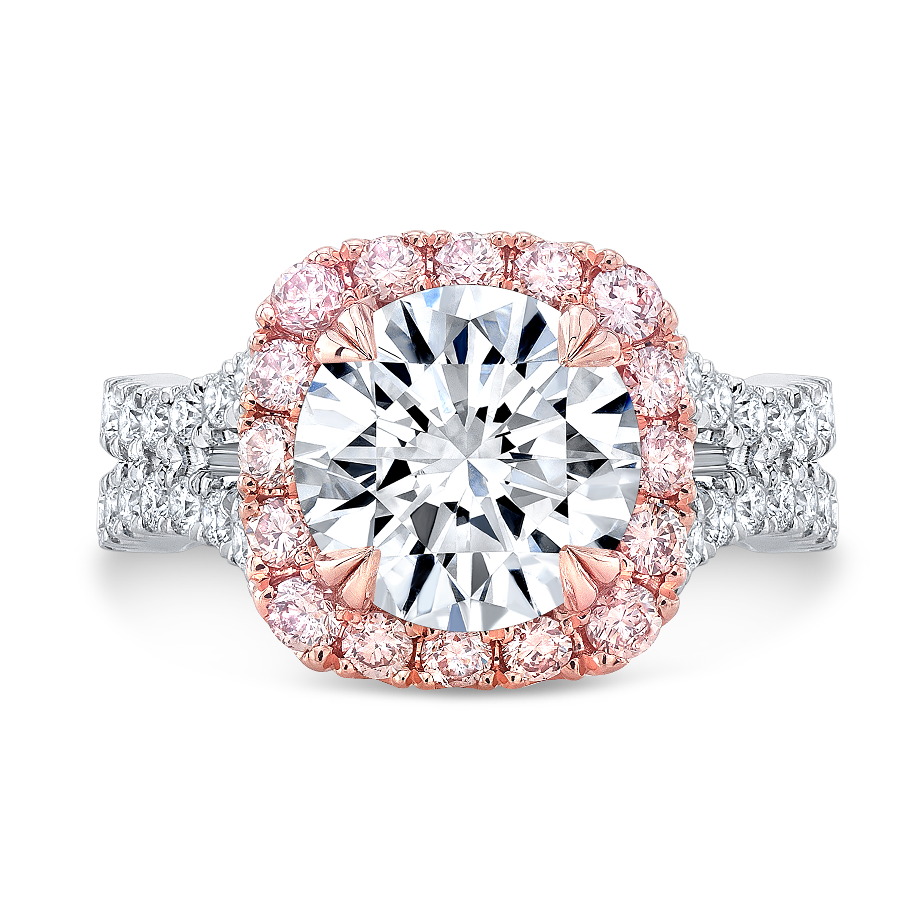 Pink Halo Curved Split Shank Engagement Ring