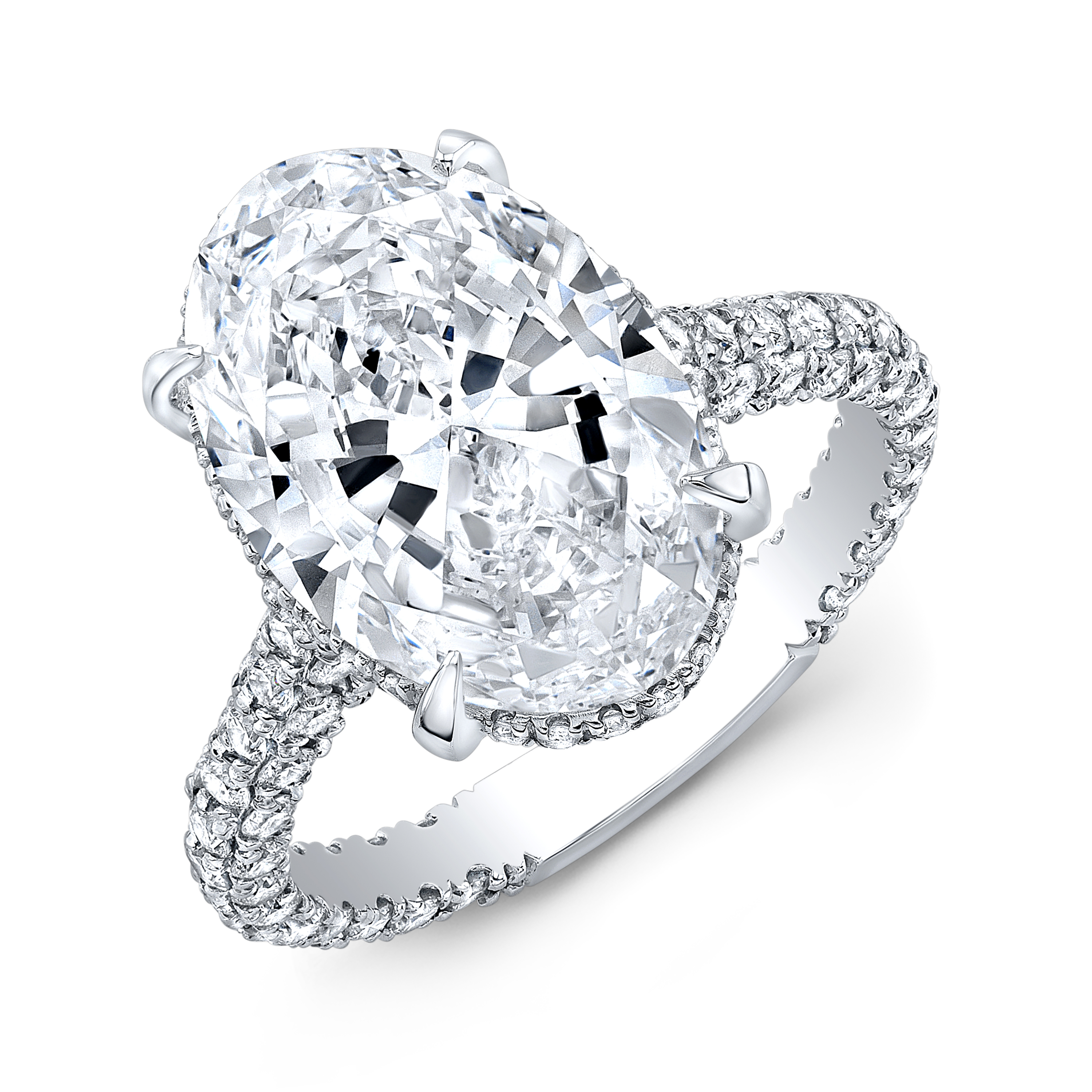 Hidden Halo Engagement Ring With Oval Center Diamond