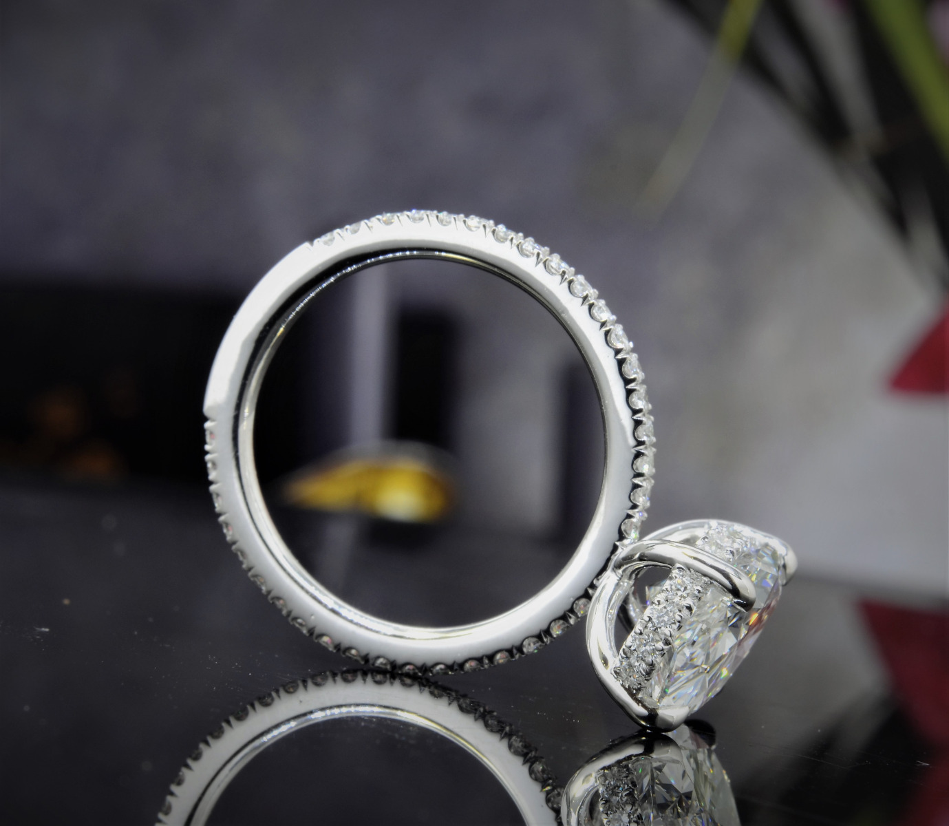 Thin Hidden Halo Pave Diamond Engagement Ring