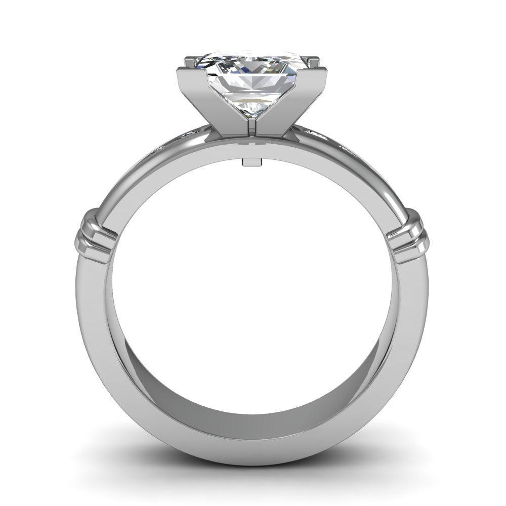 Shared Prong Pave Natural Diamonds Engagement Ring