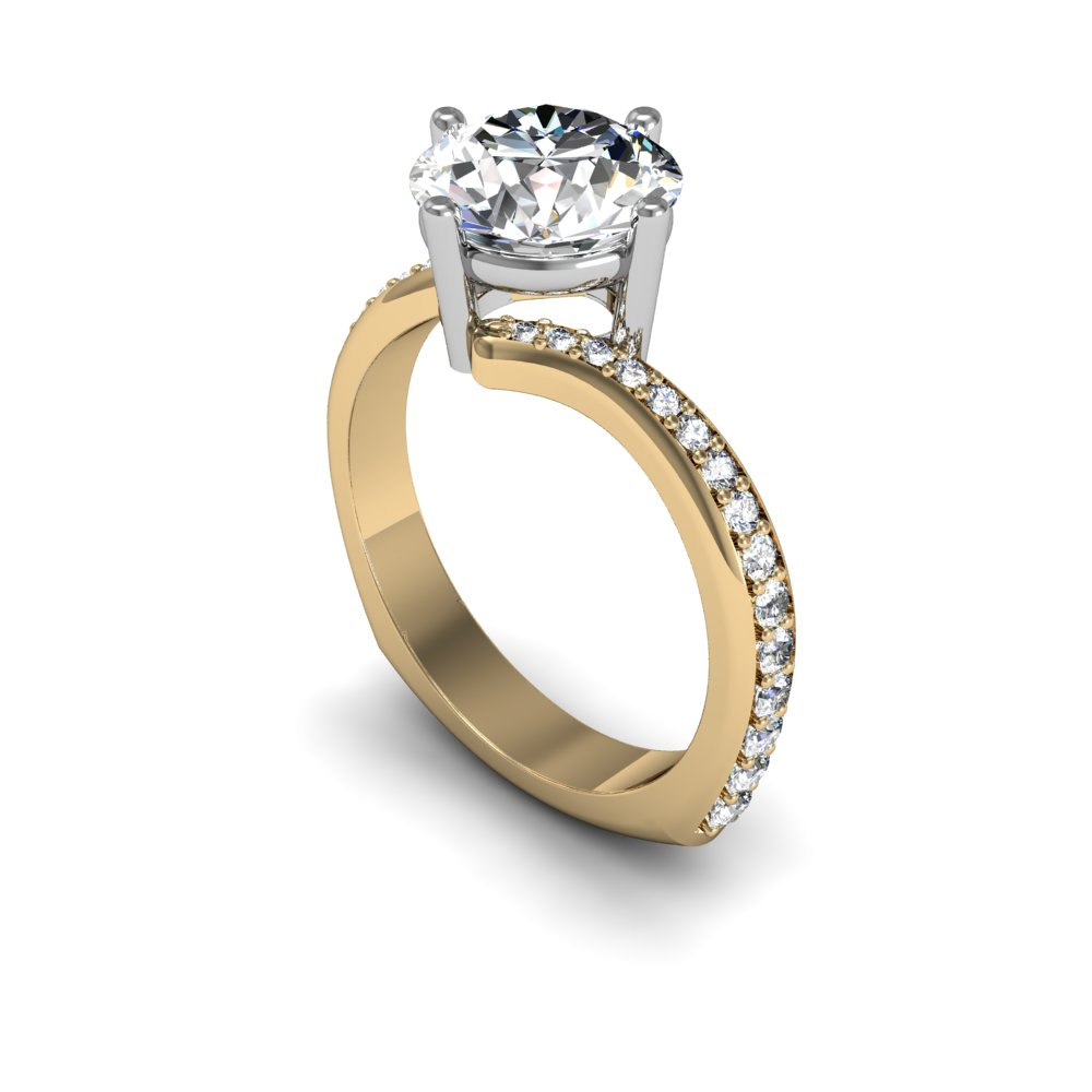 Tension Setting Pave Natural Diamonds Engagement Ring