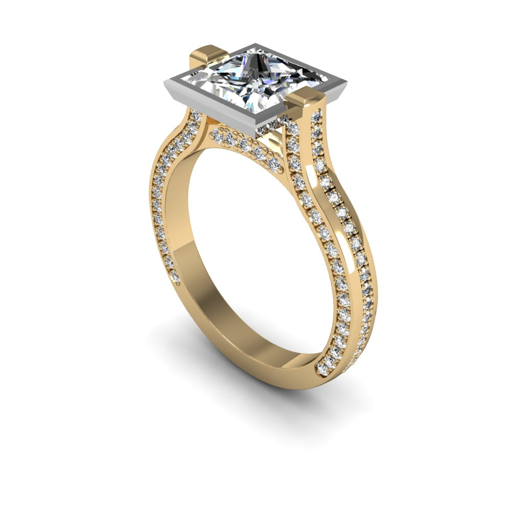 Bezel 3 Sided Micro Pave Natural Diamond Engagement Ring