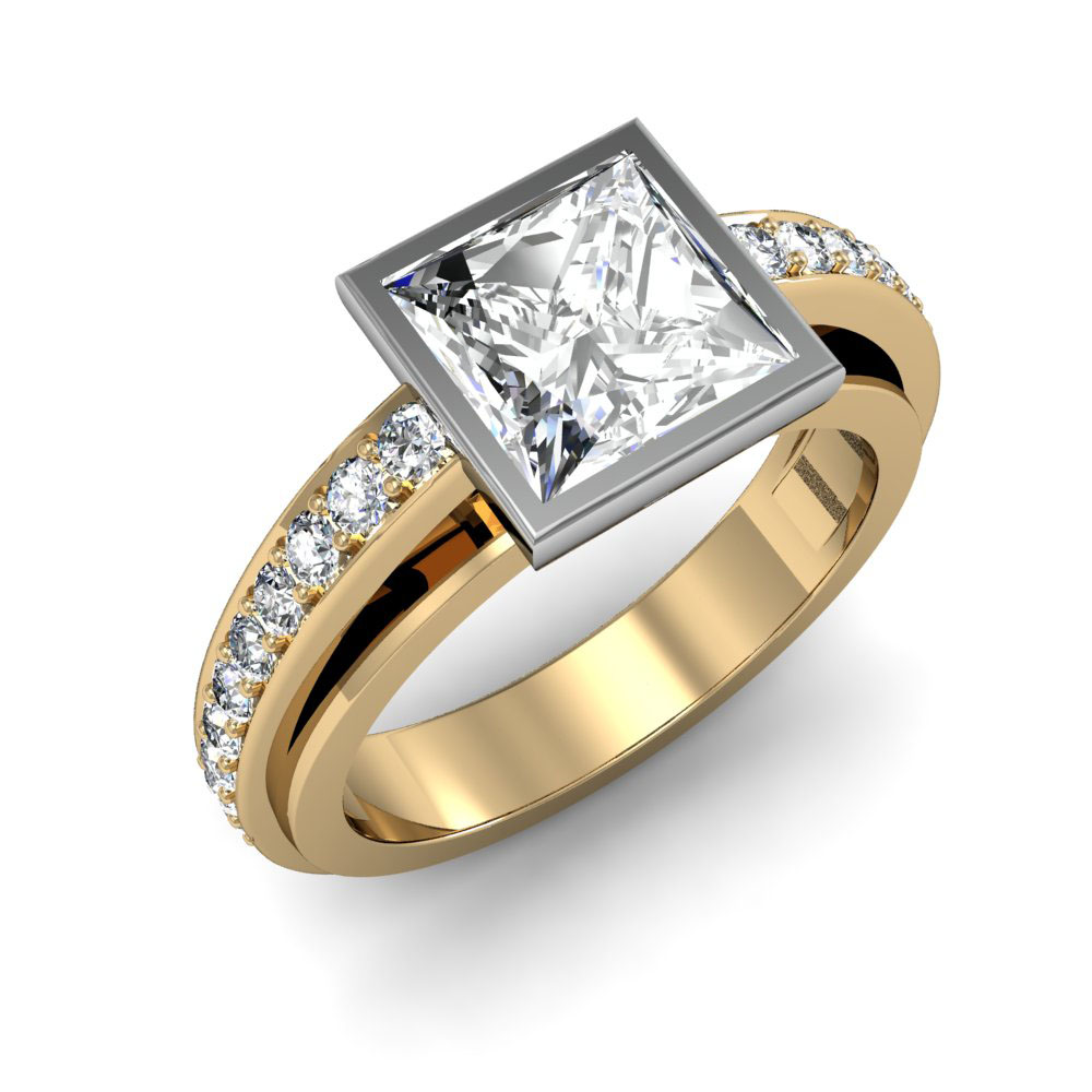 Bezel Set Dual Shank Pave Natural Diamonds Engagement Ring