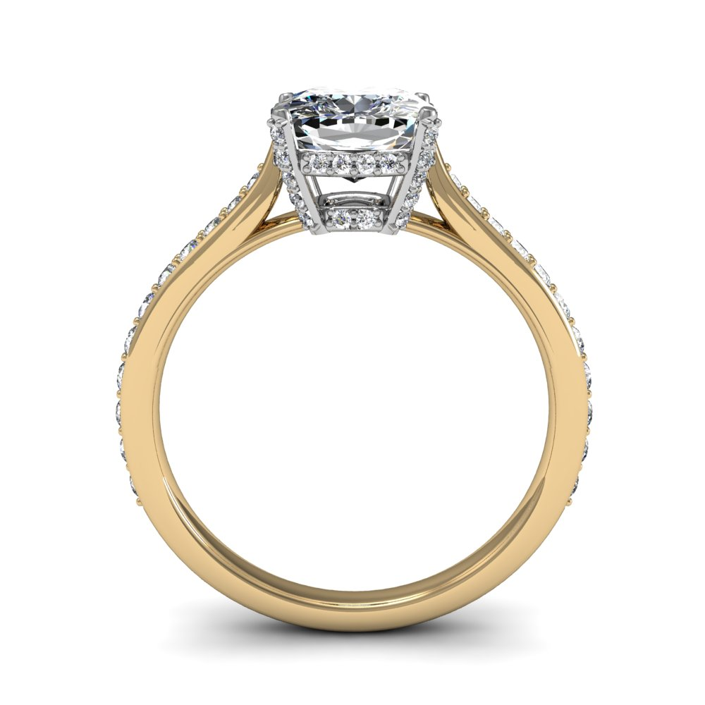 Prong Micropave Setting Pave Natural Diamonds Engagement Ring