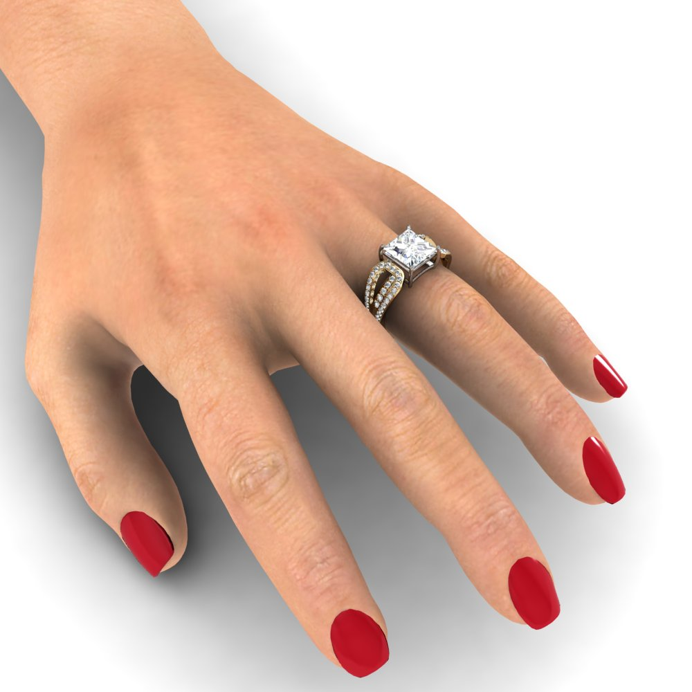 Split Shank Pave Natural Diamonds Engagement Ring