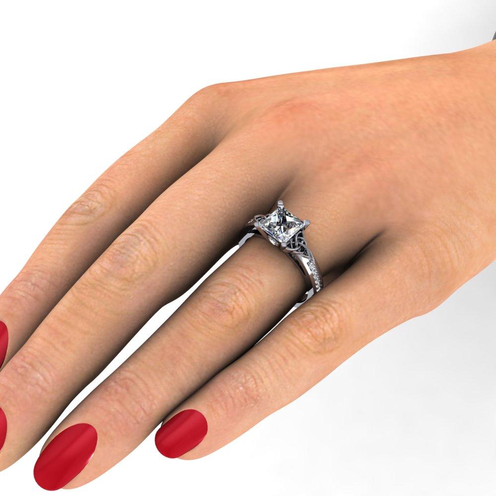 Celtic Triquetra Princess Cut Diamond Engagement Ring