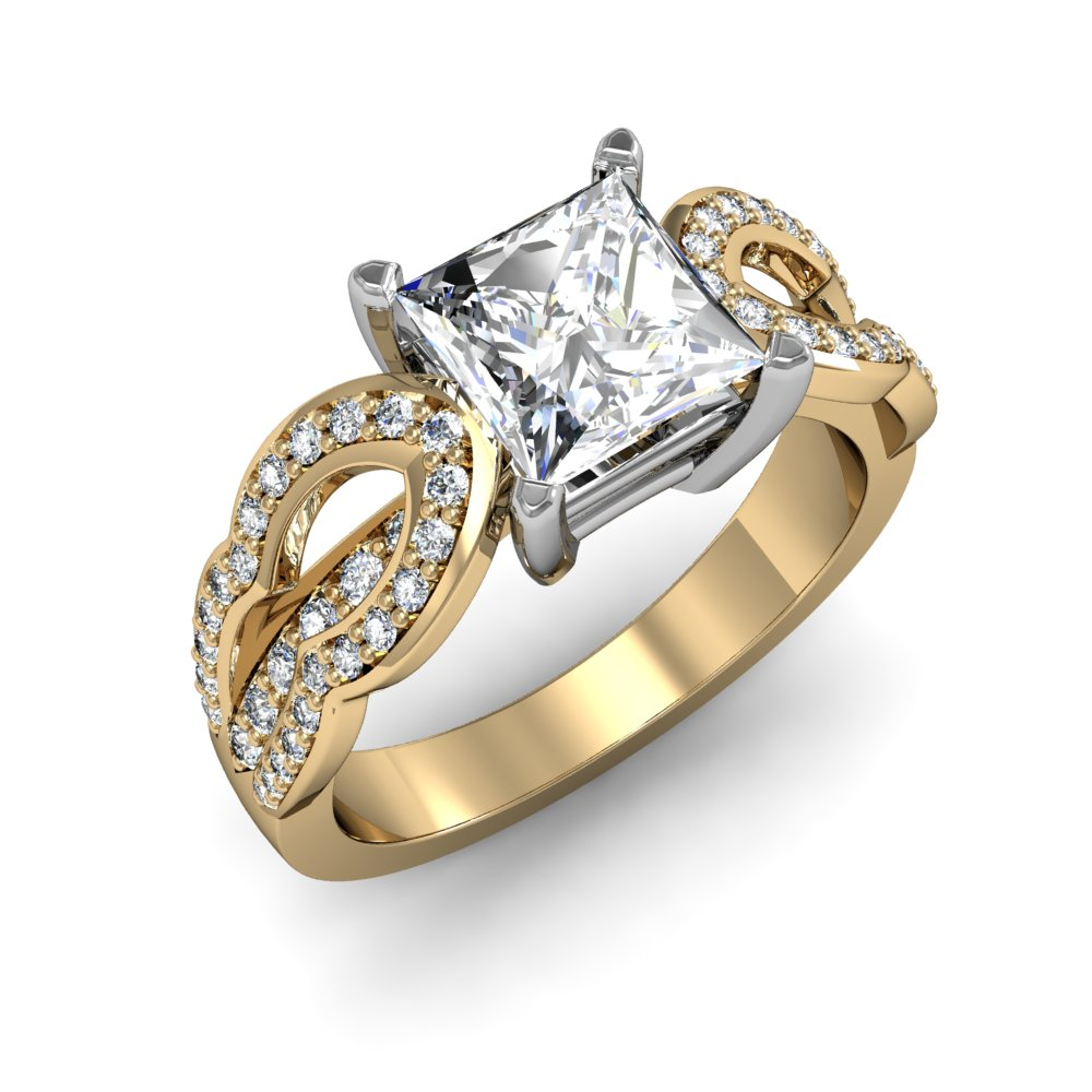 Split Shank Design Pave Natural Diamonds Engagement Ring