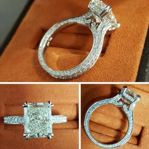 Vintage 3 Sided Micro Pave Eternity Diamond Engagement Ring