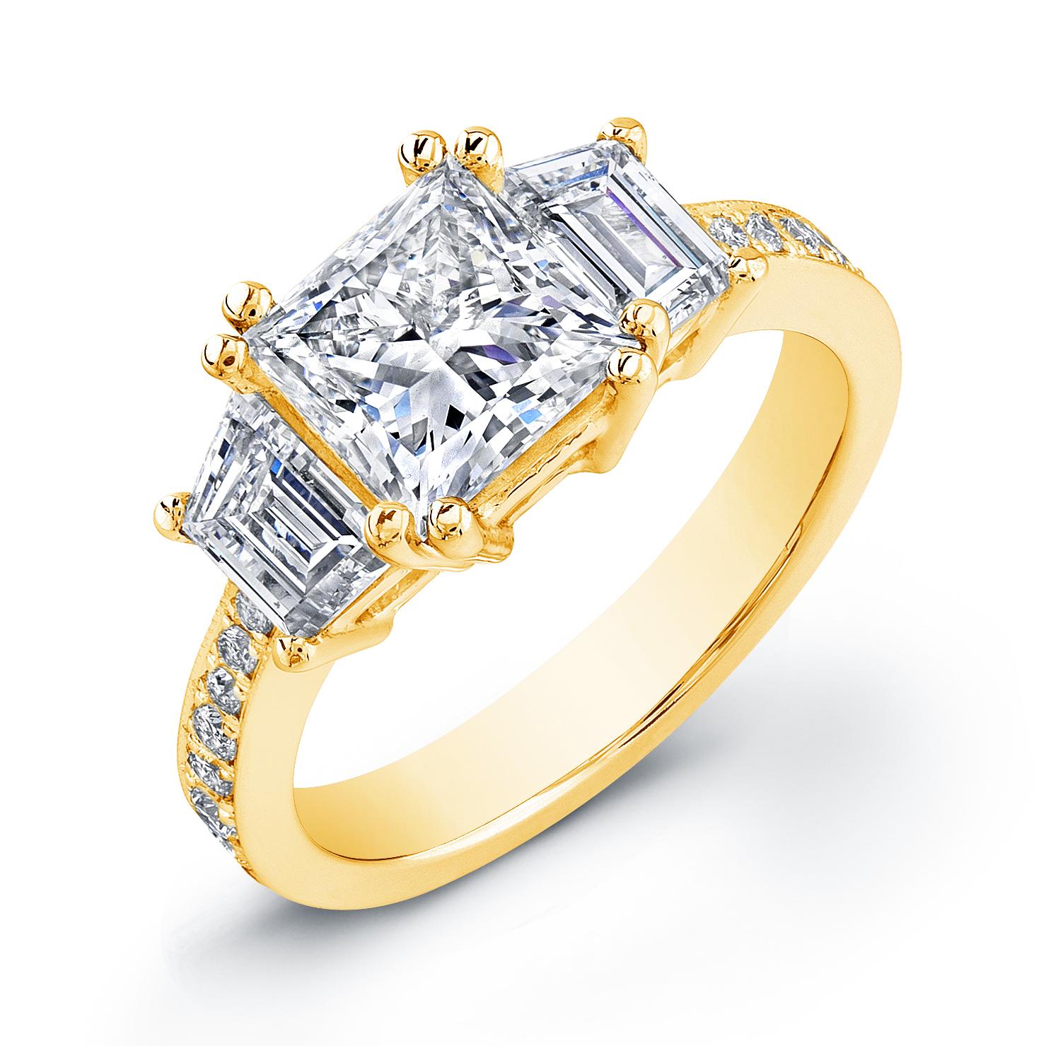 Step Cut Trapezoids Pave Diamond Engagement Ring