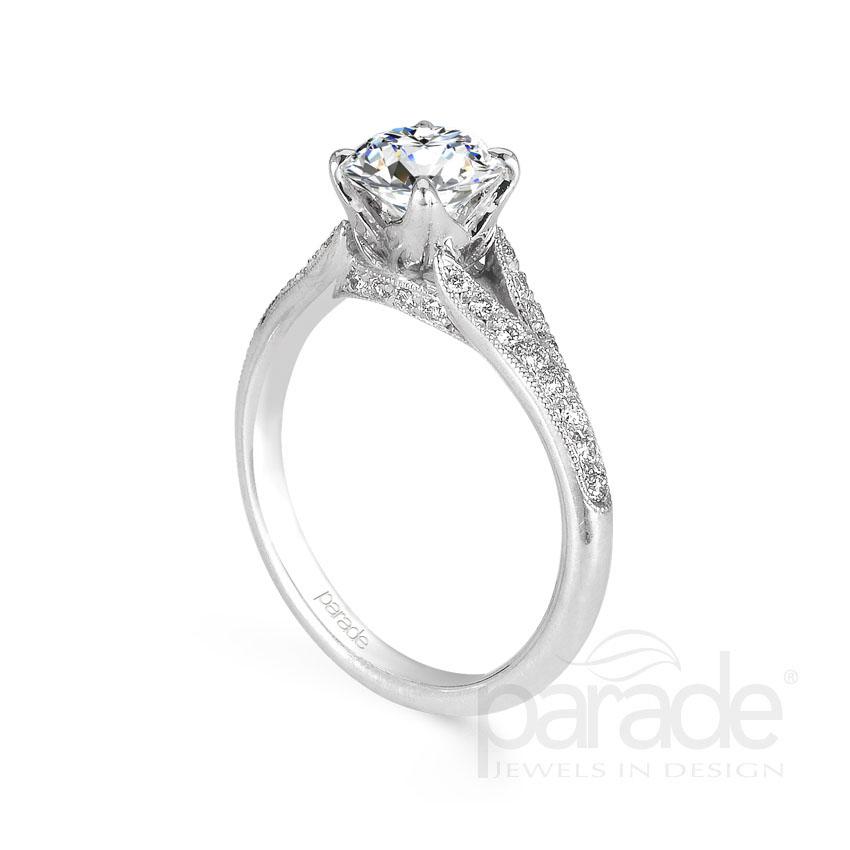 Parade Design Hera Bridal Split Shank Pave Milgrain Ring