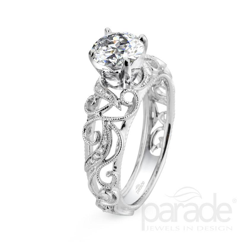 Parade Design Hera Bridal Milgrain Etched Scrolls Curl Ring