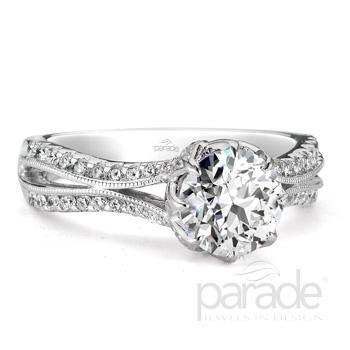 Parade Design Hera Brdial Split Shank Milgrain Pave Diamond Ring