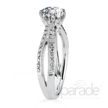 Parade Design Hera Bridal Split Shank Pave Diamond Ring