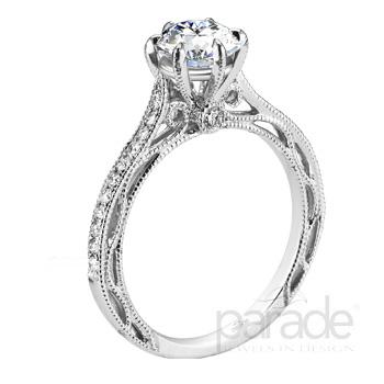 Pave Milgrain Scroll Design Hera Bridal R2909/R1