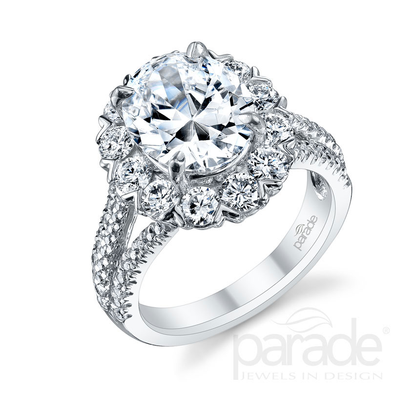 Parade Design Hemera Bridal Classic Halo Split Shank Pave Ring