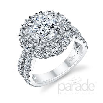 Parade Design Hemera Bridal Double Halo Pave Split Shank Ring