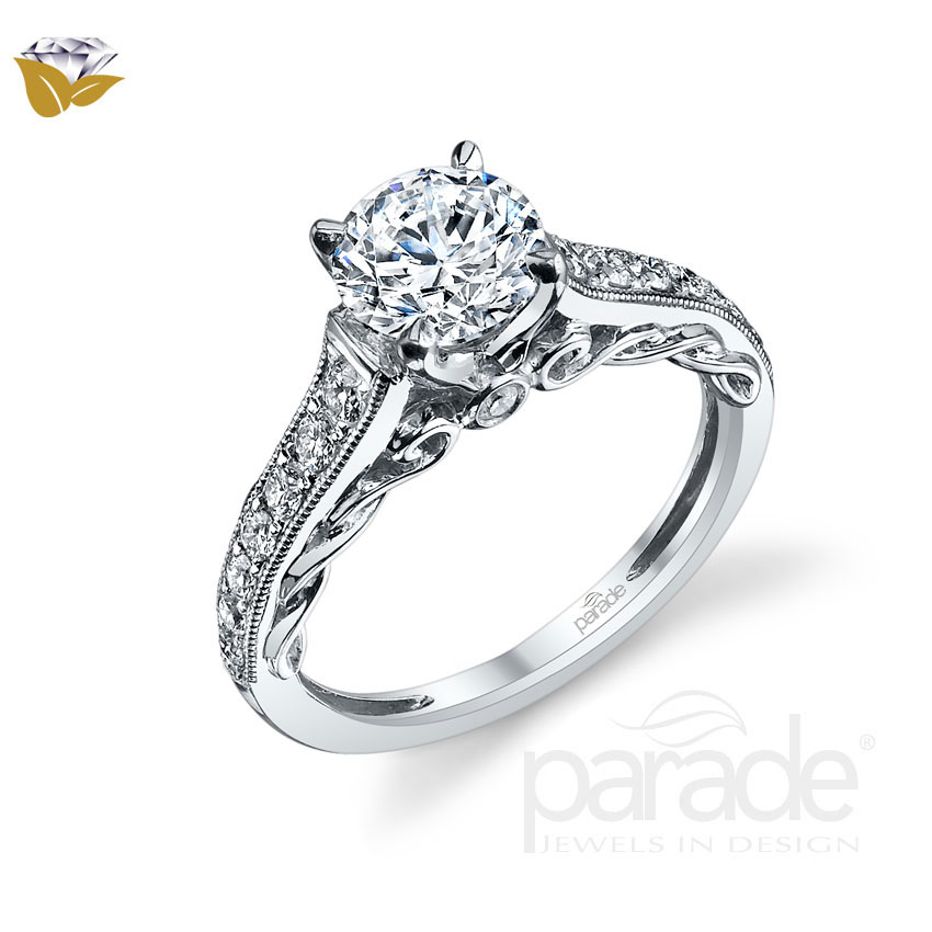 Parade Design Hera Bridal Twist Scrolls Milgrain Pave Design Ring