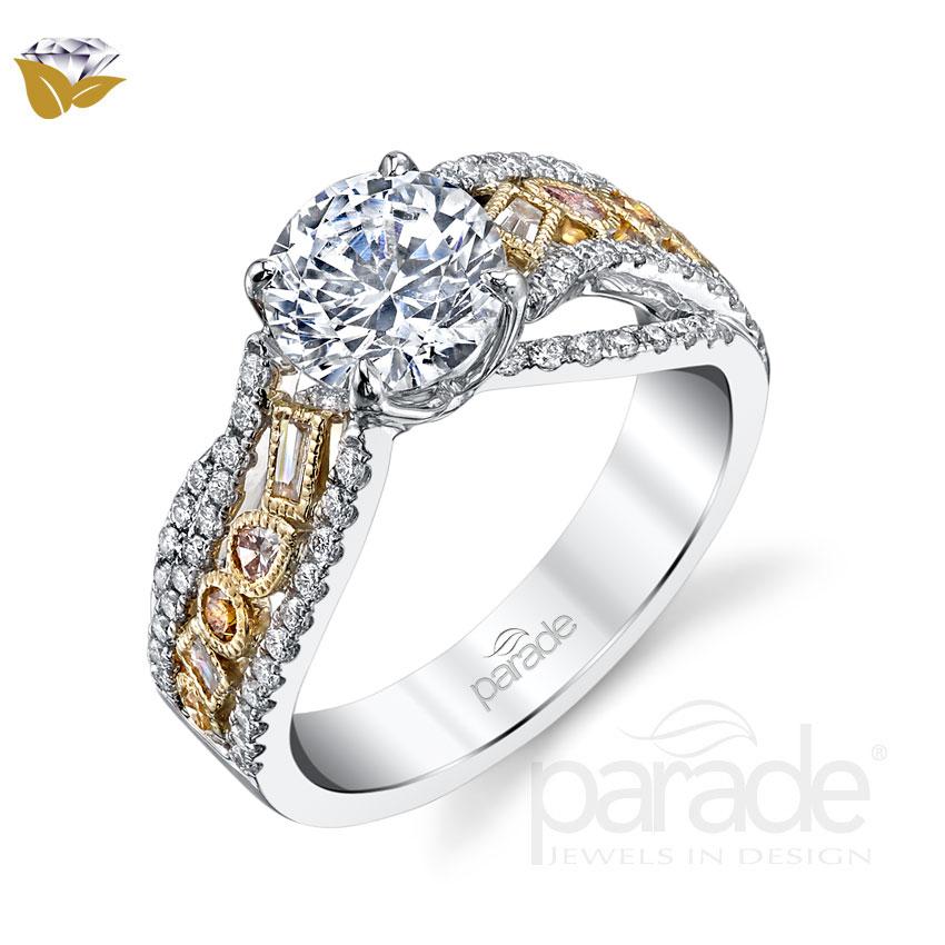 Parade Design Reverie Bridal Natural Fancy Cluster Design Twisted Pave