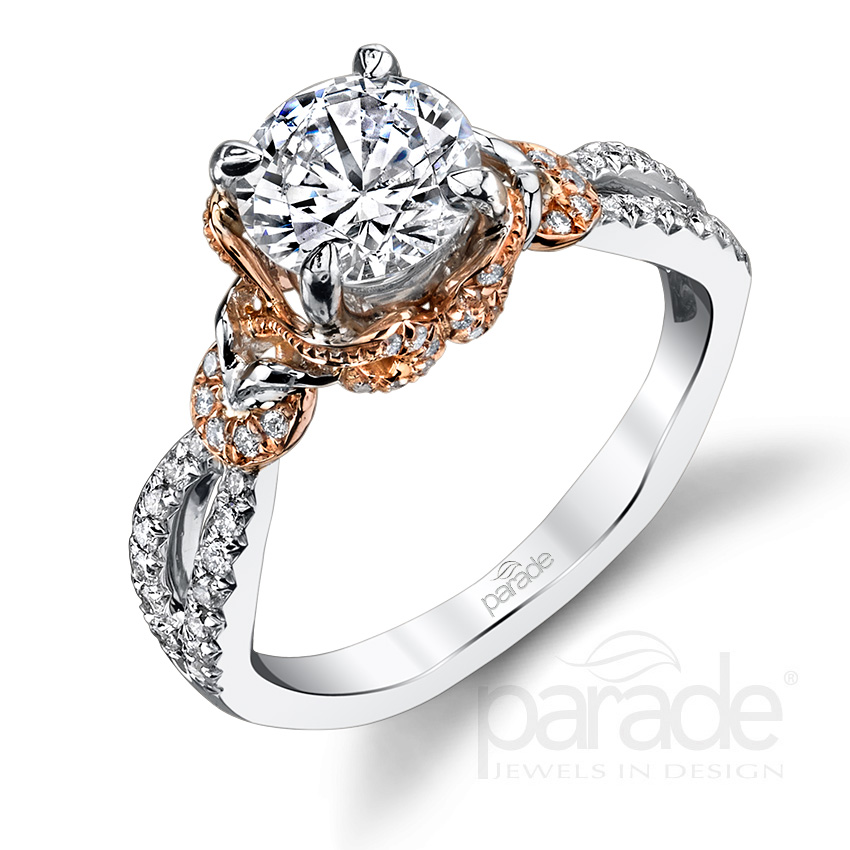Parade Design Hemera Bridal Twisted Halo Split Shank Pave Ring