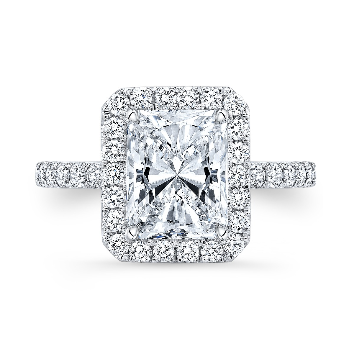 Cut Cornered Halo Pave Diamond Engagement Ring