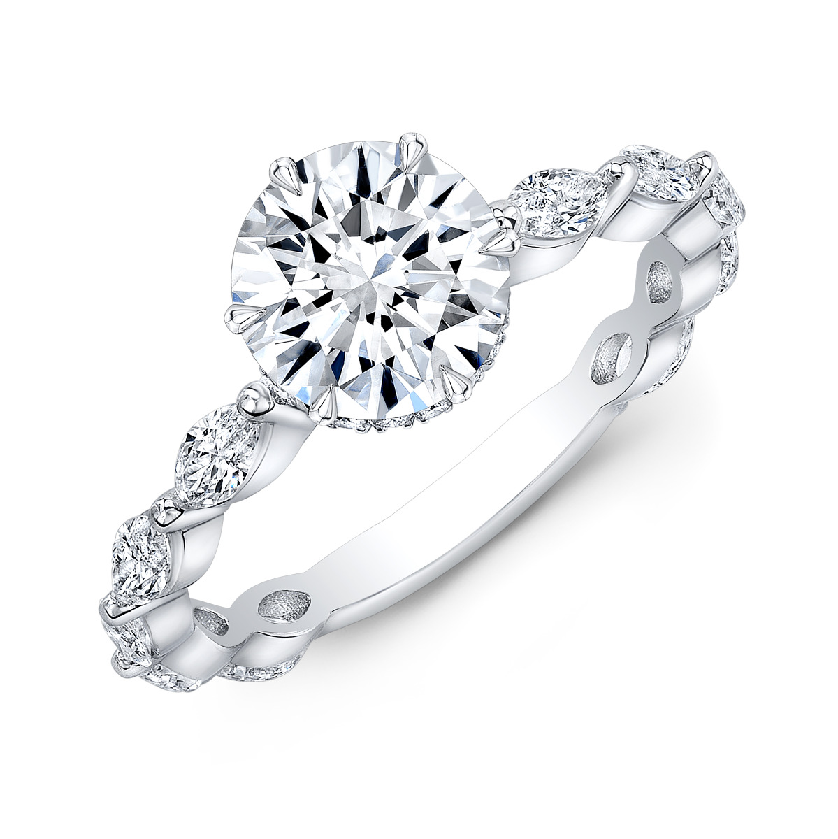 Hidden Halo Pave Marquise Shank Diamond Engagement Ring