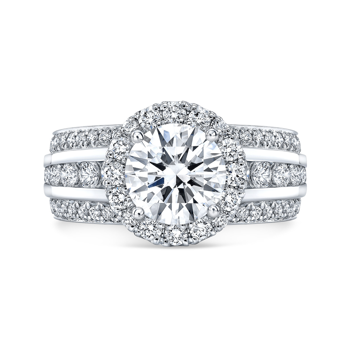 Halo 3 Row Shank Pave & Channel Set Engagement Ring