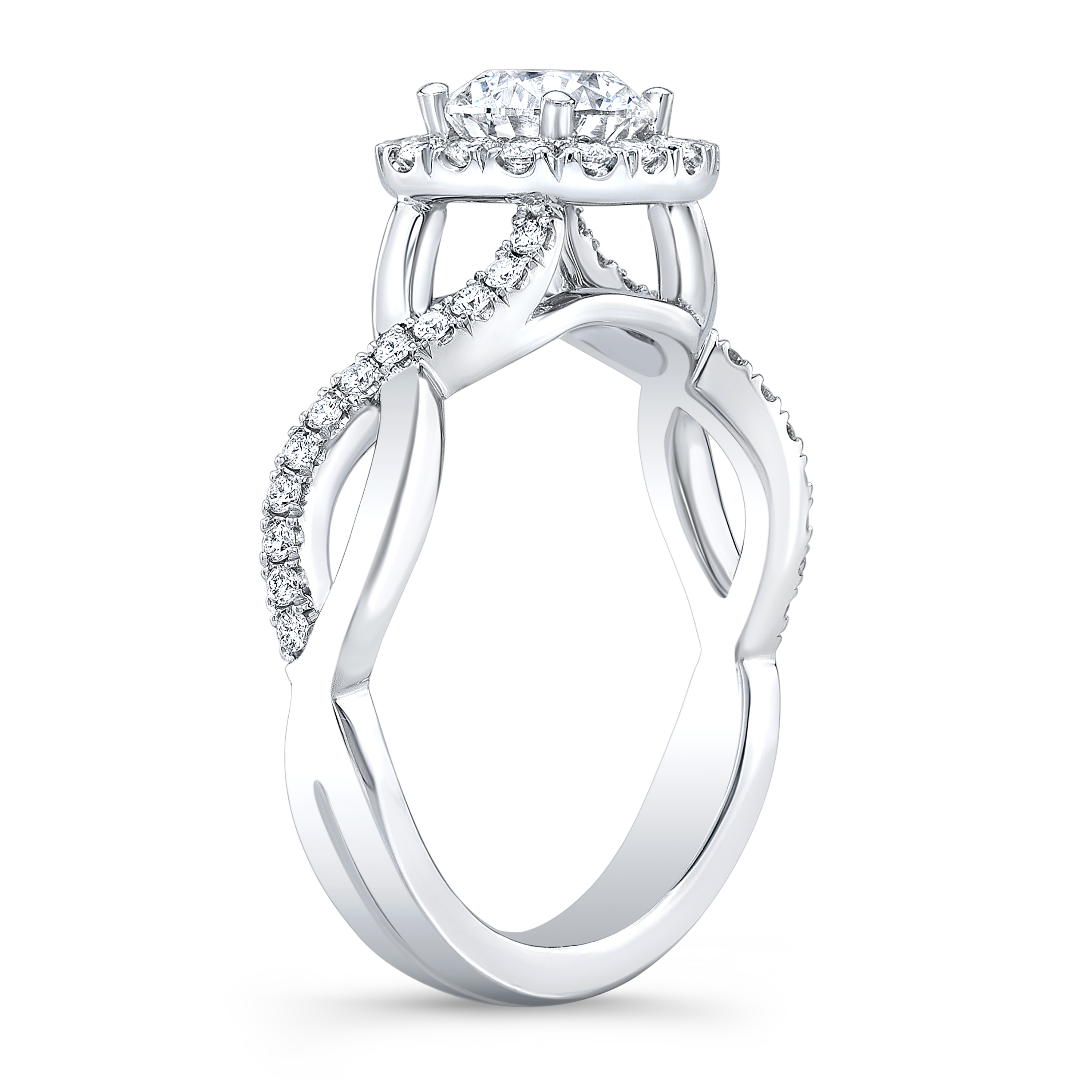 Natural Halo Half Infinity Pave Diamond Engagement Ring