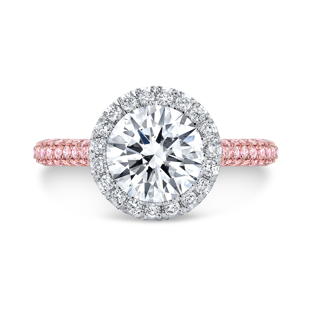 Halo Prongless 3 Row Micro Pave Pink Diamond Engagement Ring