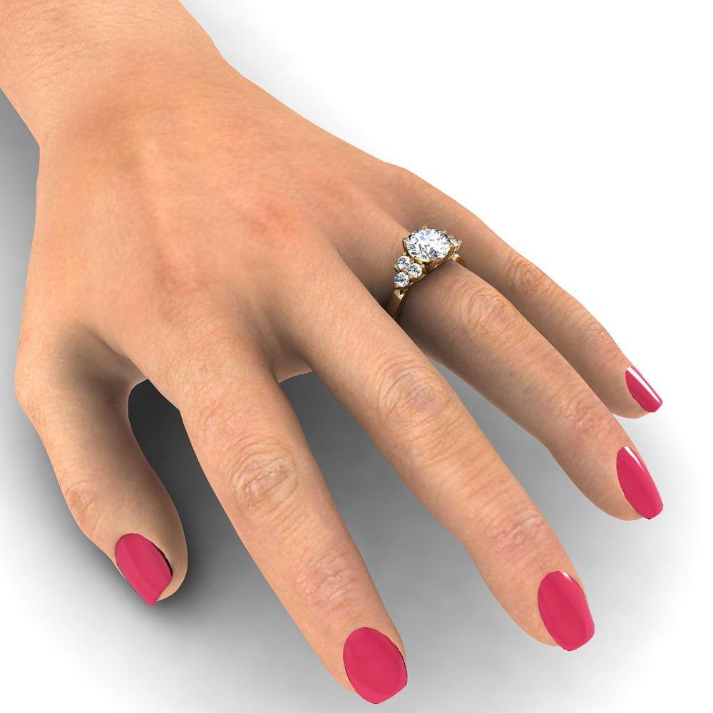 Trellis Design Sidestone Natural Diamonds Engagement Ring