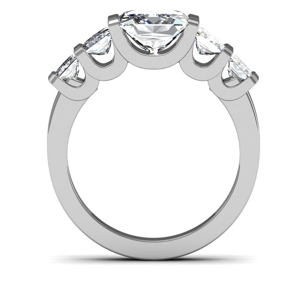 5-Stone w/ Accent Sidestone Natural Diamonds Engagement Ring