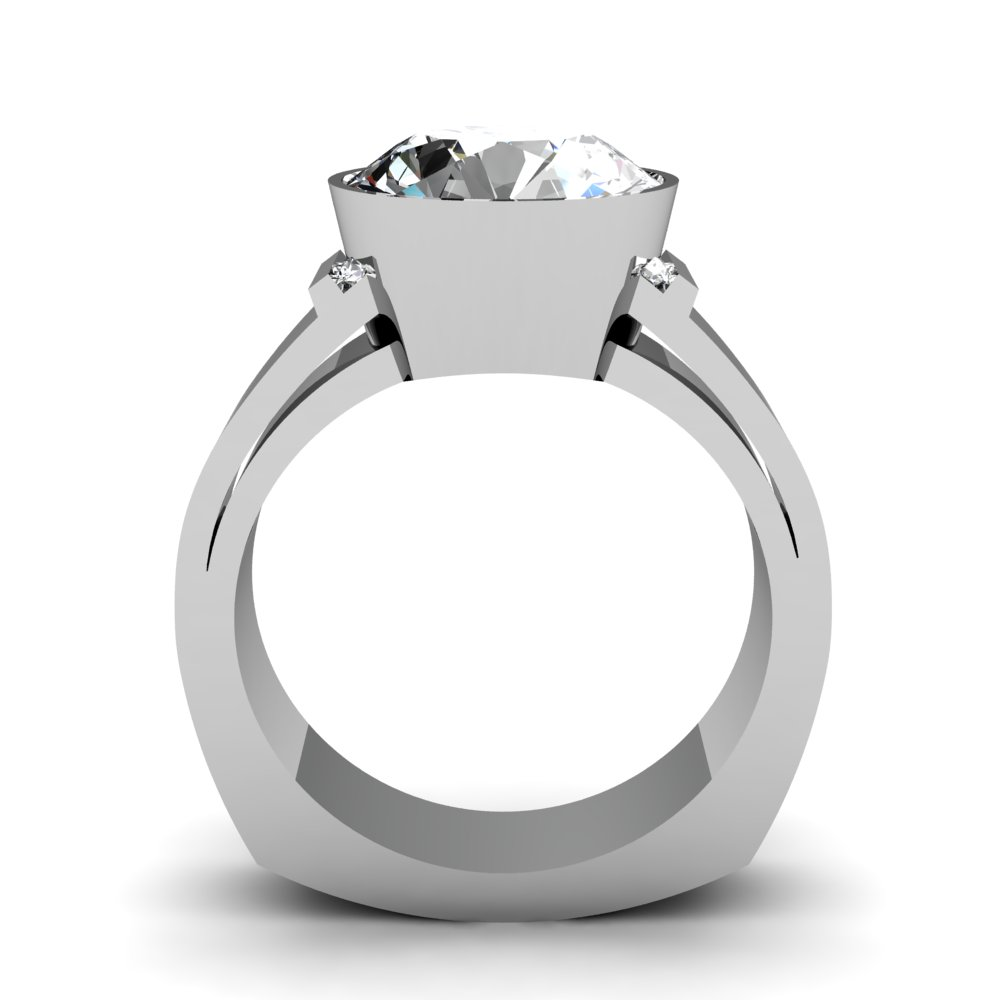 Wide Shank Bezel Set Diamond Engagement Ring