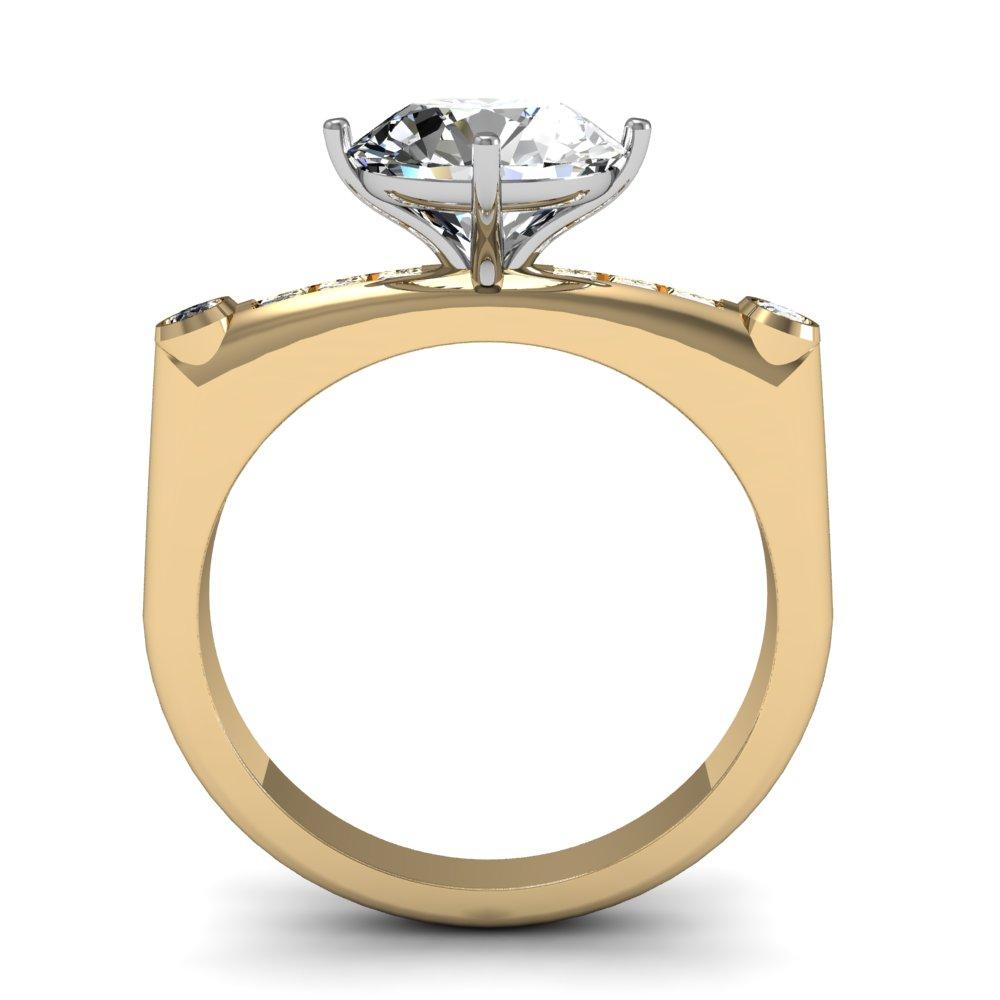 European Design Sidestones Natural Diamonds Engagement Ring