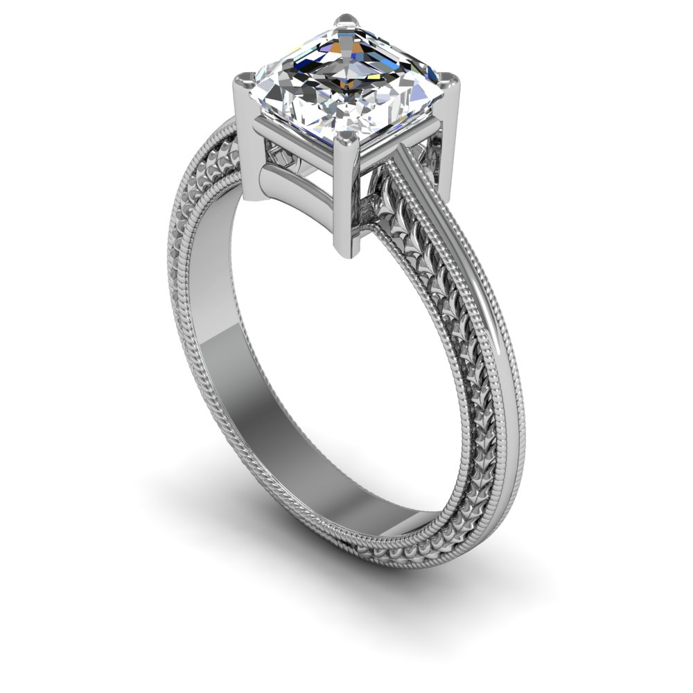 3mm Single Claw Vintage Design Solitaire Natural Diamond Engagement Ring
