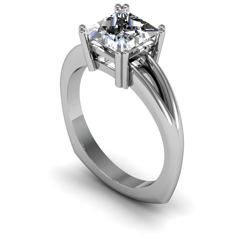 2mm Round Split Shank Classic Solitaire Natural Diamond Engagement Ring